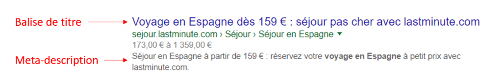 title tag recherche google seo